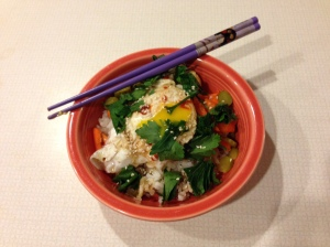 In slightly more than the time it takes to fry an egg, a few scruffy vegetables and some leftover rice can become this.