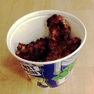 """The bucket says """"wet,"""" but the chicken is not."""