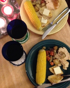 Last-of-the-season corn isn't as plump-kerneled as the earlier ears, but it was deliciously sweet.  Roasted vegetables had been abundantly doused with chicken drippings. The chicken itself was tender and flavorful, finally.