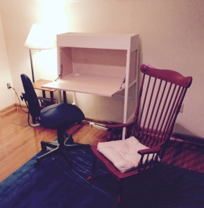 Her desk is ready for a laptop and a pad, with a cozy rocking chair for reading, or waiting patiently while a collaborator finishes a new scene or song.