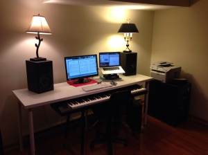 His desk is still a work in progress, but everything fits. Let the composing begin!