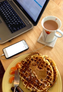 Work-from-Home-on-a-Snow-Day Breakfast. Not pictured: crackling fire, happy kitten.